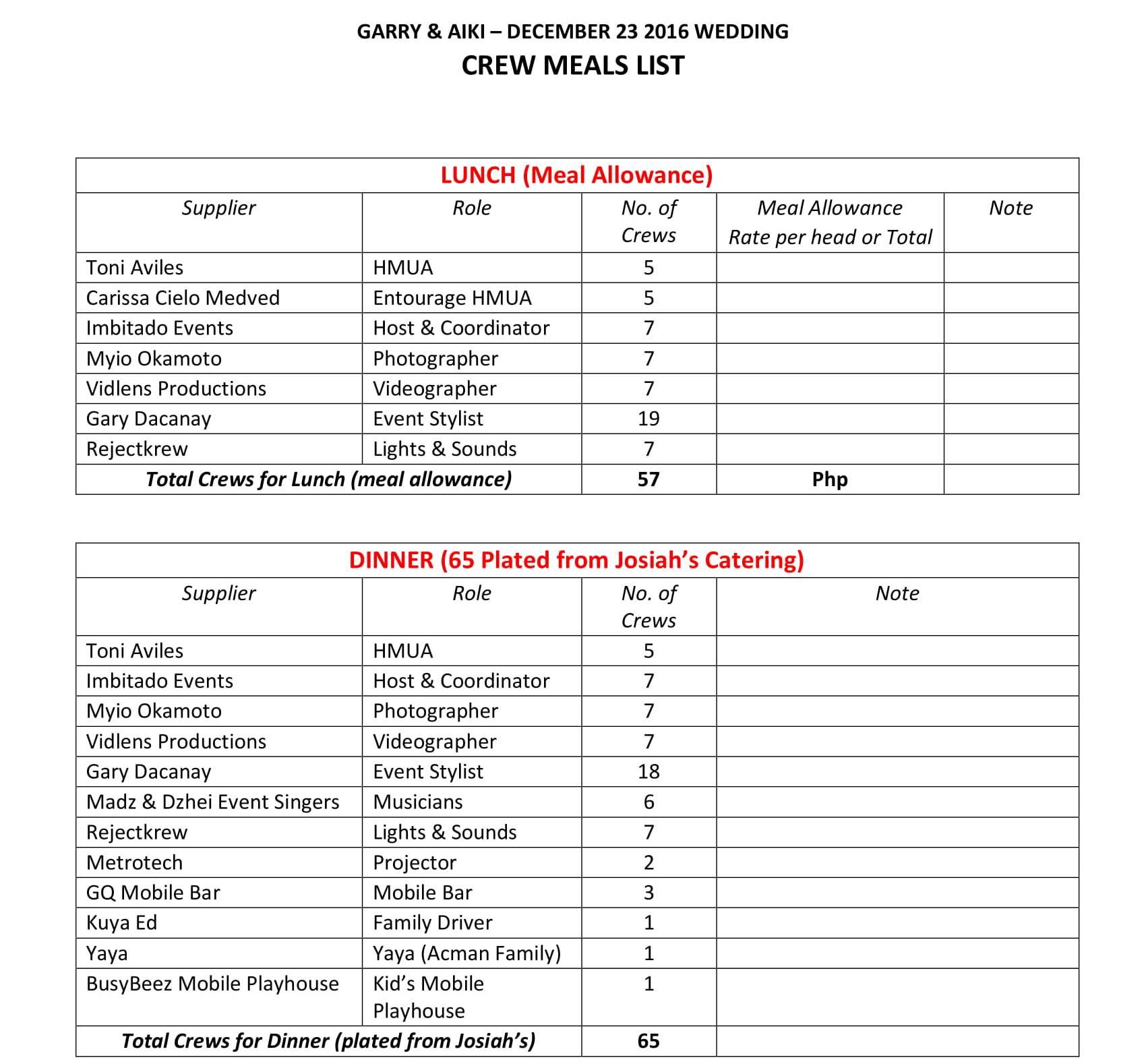 GA Crew Meals List