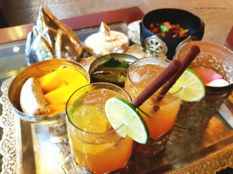 Complimentary drinks and snacks featuring traditional Khmer snacks