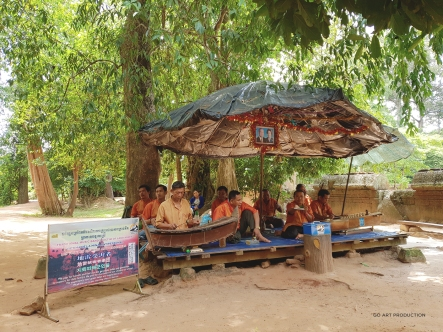 Traditional Cambodian folk music playing outside of Banteay Srie