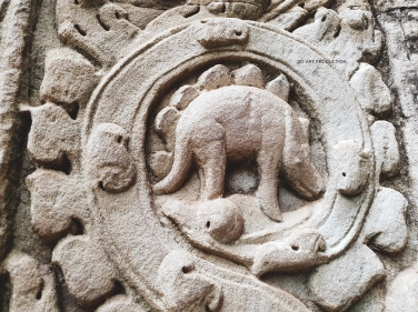 Is it a dinosaur? Engraved in the walls of Ta Prohm Temple