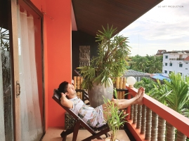 Our room's terrace overlooking Siem Reap