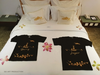Couple shirts that we got as honeymoon gifts from Golden Temple Hotel