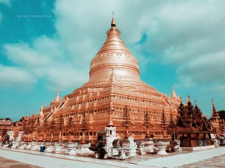 The beautiful 10th century golden-plated stupa which later became the architectural prototype for many other stupas across Myanmar